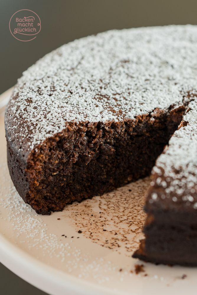 Tarte au chocolat Rezept - ein genial feuchter Schokokuchen ohne Mehl und Nüsse | www.backenmachtgluecklich.de