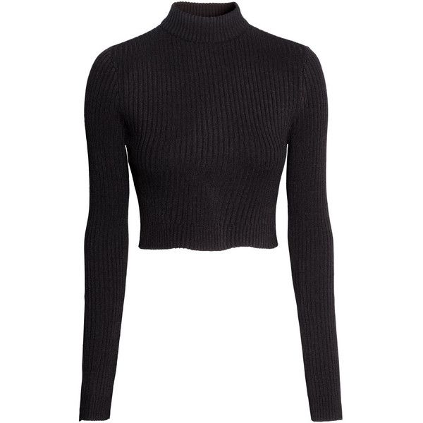 H&M Cropped polo-neck jumper ($23) ❤ liked on Polyvore featuring tops, sweaters, crop tops, shirts, jumpers, black, h&m sweater, black crop shirt, cropped sweater and black turtleneck shirt