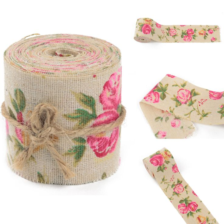 Cheap ribbon box, Buy Quality fabric lounge directly from China ribbon embroidered fabric Suppliers: 3M Vintage Rose Floral Print Burlap Hessian Ribbon Fabric Ribbons For Wedding Craft Decors