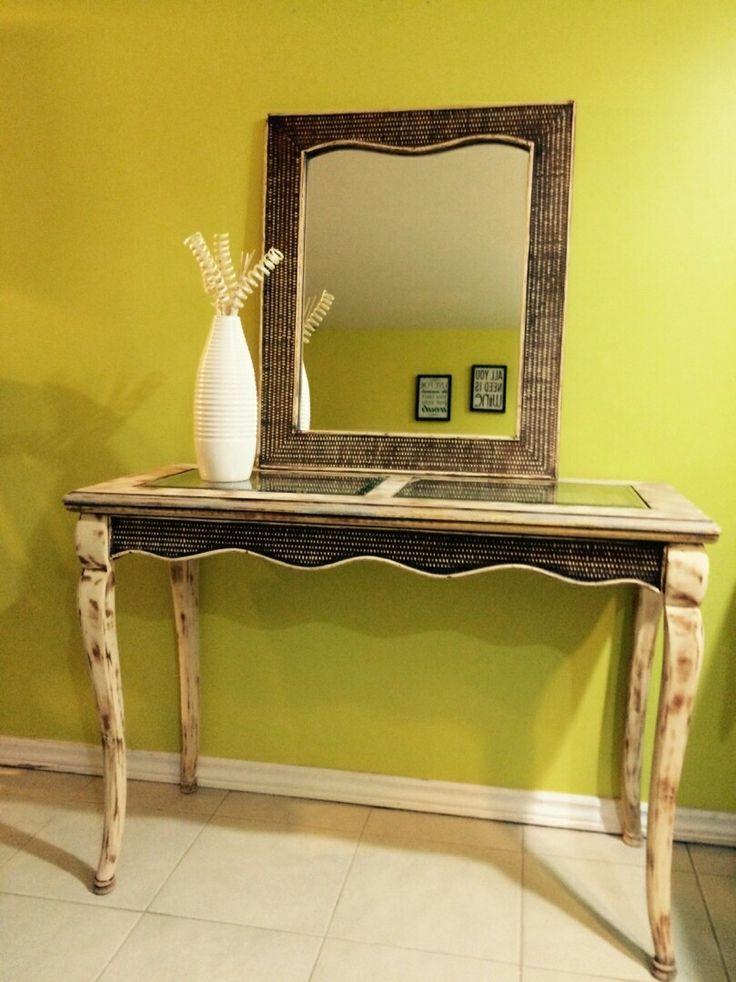 Broken entrance table transformed to an older look and restoration