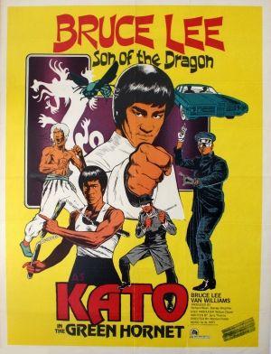 Green Hornet Bruce Lee, 1974 - original vintage movie poster for the martial arts film, Green Hornet - Son of the Dragon, starring Bruce Lee as Kato and Van Williams as Britt Reid, listed on AntikBar.co.uk
