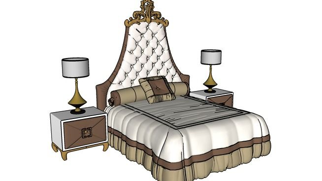Large preview of 3D Model of bedroom clasic, bed, bed furniture, pillow