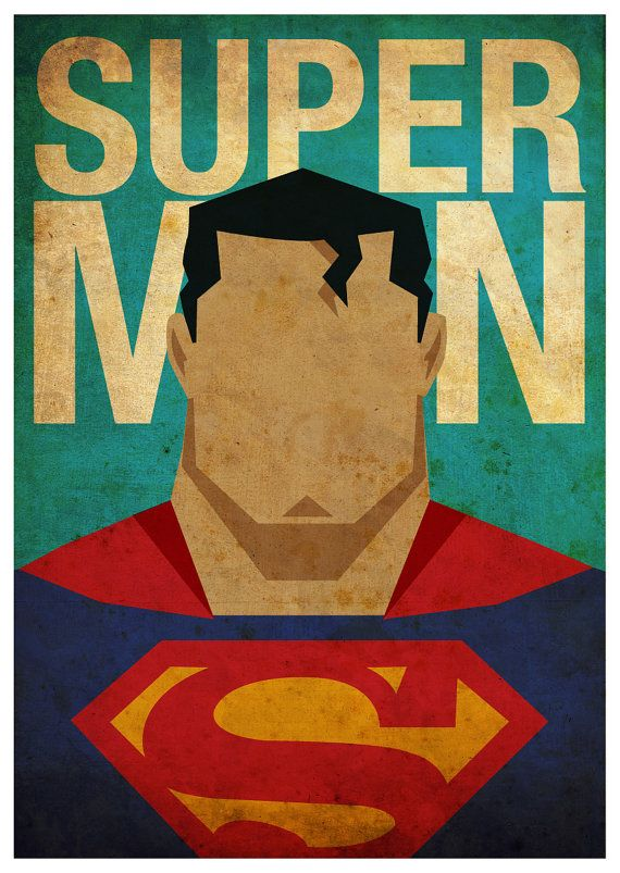 Vintage Minimalist Superman Poster A3 Prints by MyGeekPosters