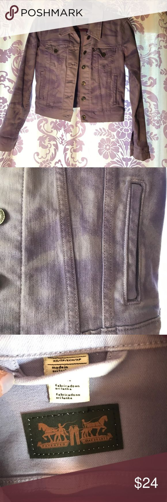 Lavender Jean Jacket Never been worn Levi lavender jean jacket. Size XS great for the spring and summer! Jacket has a distressed purple color patter to it. Levi's Jackets & Coats Jean Jackets