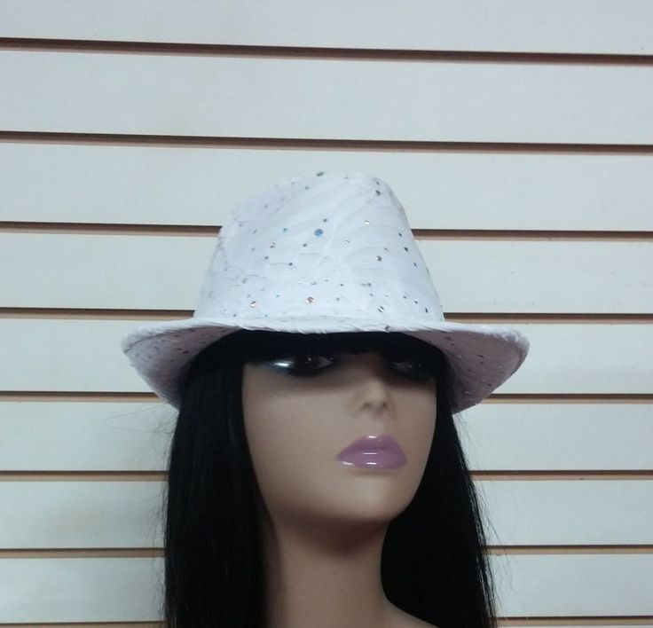 White Fedora Hat Gangster Trilby One Size Womens Glitter Cap New #Unbranded #FedoraTrilby #Any