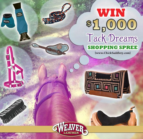 Enter for free for your chance to win a $1,000 Weaver Leather shopping spree in the ChickSaddlery.com Tack Dreams sweepstakes! Contest ends 5/15/2015. @ChickSaddlery www.chicksaddlery.com #TackDreams