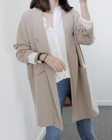 Casual Lapel Neck Solid Color Long Edition Long Sleeve Women's CoatCoats | RoseGal.com