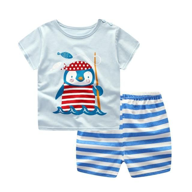 348ec2ac77bd9 2019 Brand New Baby Boys Summer Clothing Set Shirt+Plaid Pants ...