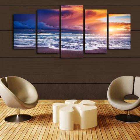 5 Piece Blue Clouds Sunset Seascape Canvas