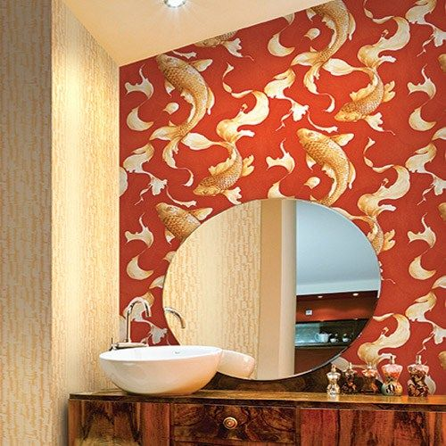 Seabrook Wallpaper   Koi   Koi Fish Design Wallcovering In A Bathroom Photo
