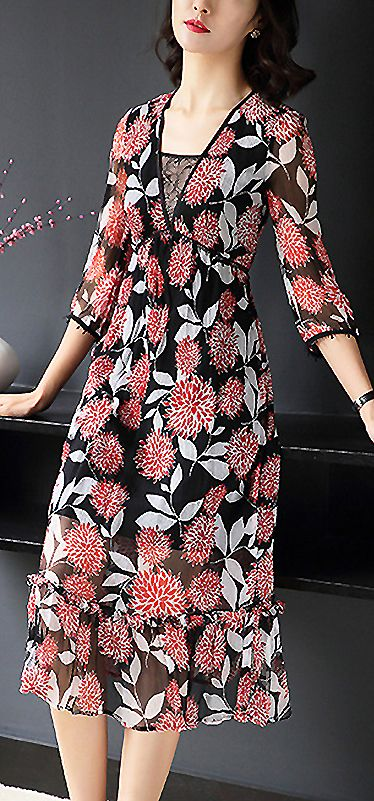 Elegant V Neck Floral Print Slim A Line Dress Fashion Dresses