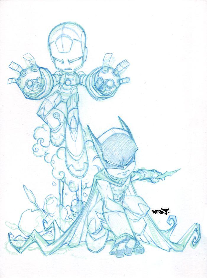 Ironman Batman Chibi team up. by *Red-J on deviantART