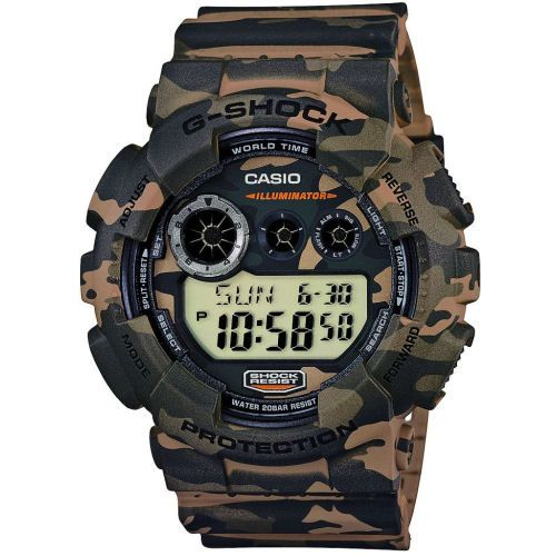 Reloj Casio G-Shock GD-120CM-5ER Camouflage en oferta, con la caja y brazalete de resina, hora mundial, cronómetro. Relojes Casio G-Shock baratos de hombre