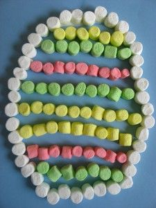 Marshmallow Easter egg craft. This would work for any shape and would be good counting and sorting practice.