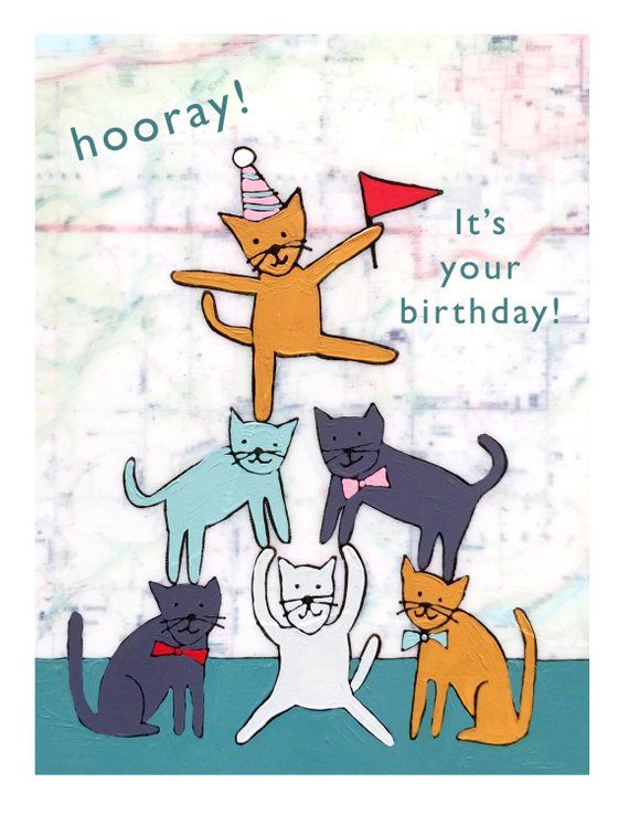 Cat Birthday Card For Cat Lover With Cute Cats And Party Hats Etsy In 2021 Cat Birthday Cards Funny Cat Birthday Card Happy Birthday Cat