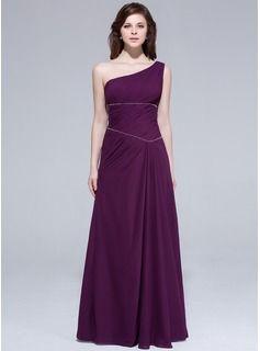 Wedding Guest Dresses - $133.99 - A-Line/Princess One-Shoulder Floor-Length Chiffon Bridesmaid Dress With Ruffle Beading  http://www.dressfirst.com/A-Line-Princess-One-Shoulder-Floor-Length-Chiffon-Bridesmaid-Dress-With-Ruffle-Beading-007037305-g37305