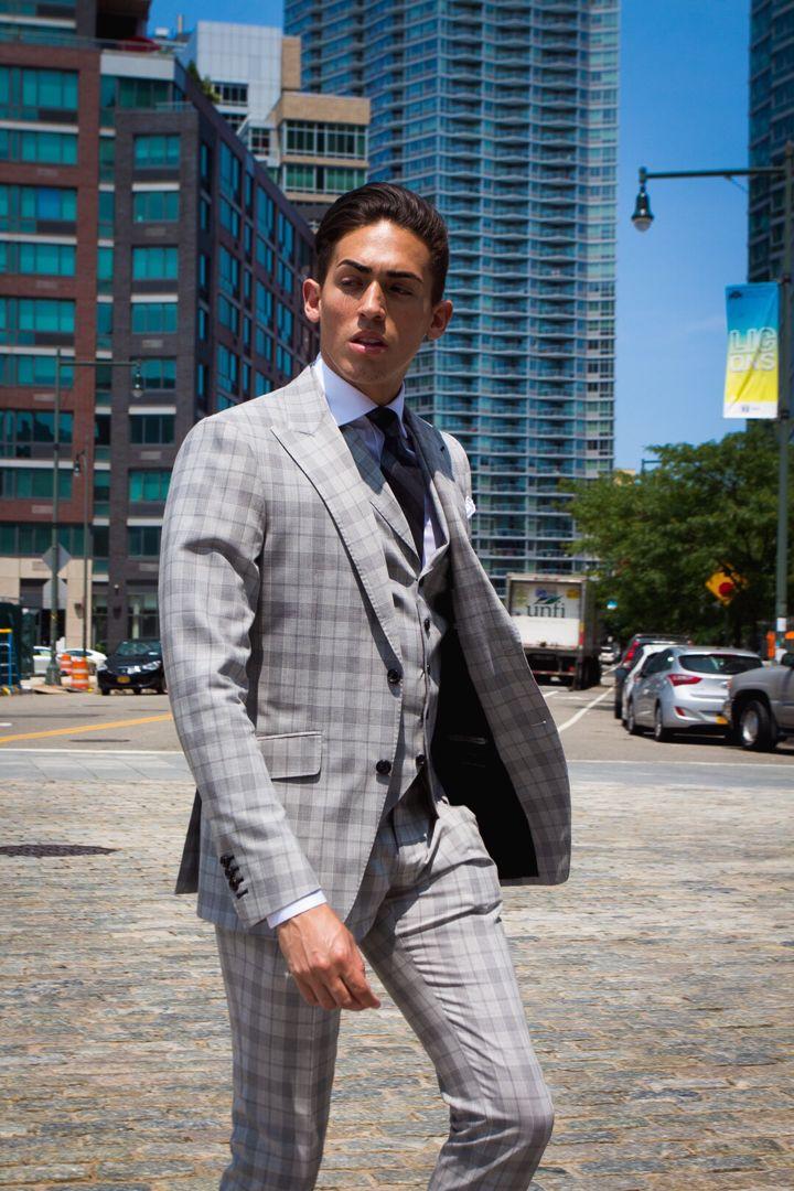 byalejandrojomar Light Grey Plaid Suit Three Piece | Stylish