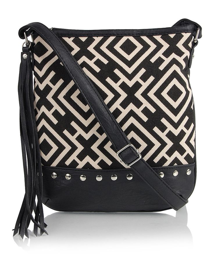 Love this Black & White Geometric Crossbody Bag by OMG! Accessories on #zulily! #zulilyfinds