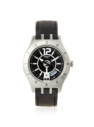 Swatch Men's YTS400 Black Leather Watch