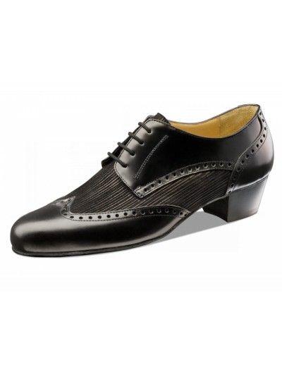 Chaussures de danse noire avec talon cubain, Palermo Nueva Epoca en cuir