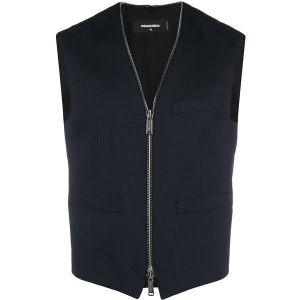Dsquared2 zipped waistcoat (39.180 RUB) ❤ liked on Polyvore featuring men's fashion, men's clothing, men's outerwear, men's vests, blue, mens sleeveless vest, mens blue vest, mens zipper vest, mens v neck vest and mens summer vests