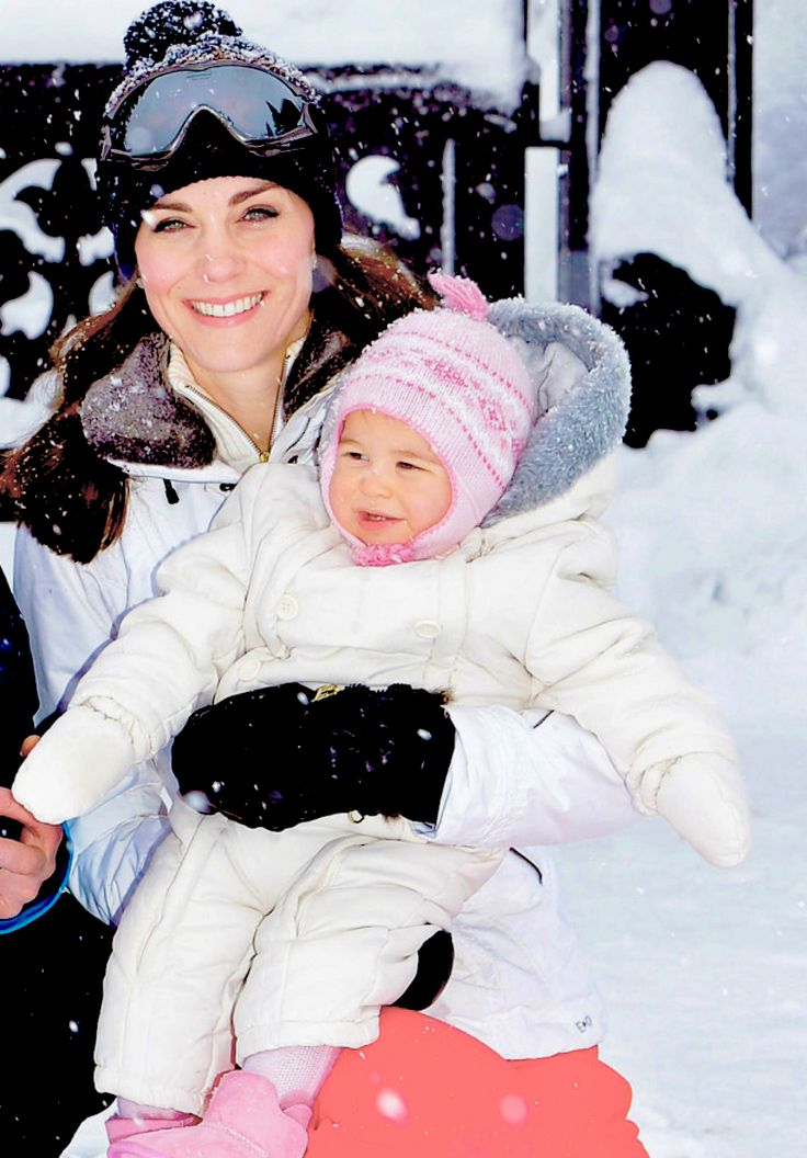 The Duchess of Cambridge and Princess Charlotte   enjoy a short private skiing break with   The Duke of Cambridge and Prince George   on March 3, 2016 in the French Alps, France.