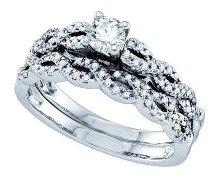 14KT White Gold 0.5 CT DIAMOND 0.25CT CENTER ROUND BRIDAL SET: Rings