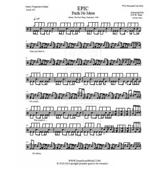 Faith No More Epic Drums Sheet Drum Notes Epic