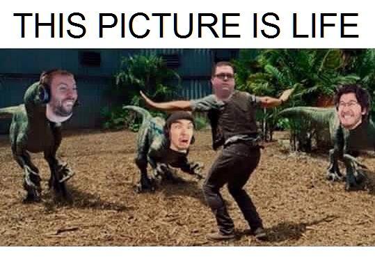 Wade, Jack and Mark as dinosaurs. oH MY GOD LOOK AT BOB