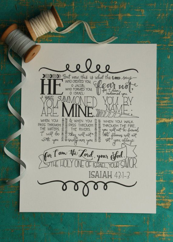 8x10 print / Isaiah 43:1-3 print