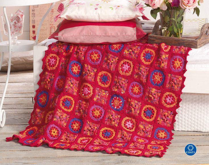 Horgolt patchwork takaró