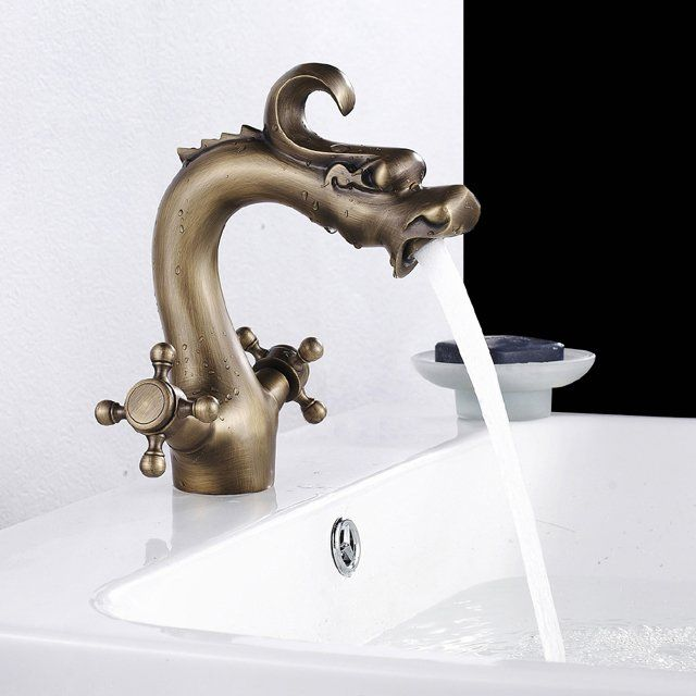 Dragon Bathroom Sink Faucet/ The Dragon Bathroom Sink Faucet from Rozinsanitary is an elegant brass sink faucet. The antique brass finish brings a classic oriental feel to the sink and your room décor. http://thegadgetflow.com/portfolio/dragon-bathroom-sink-faucet/