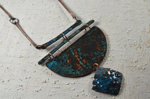 Copper  jewelry Copper necklace copper pendant copper di Violanima