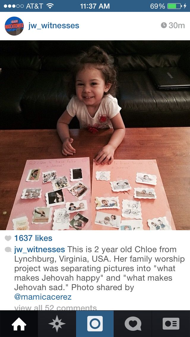 Her job was separating pictures of what makes Jehovah happy and what makes him sad.
