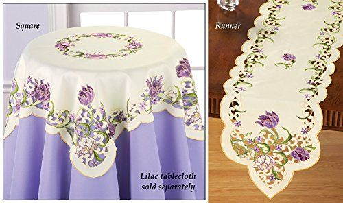 Embroidered Floral Parrot Tulip Table Linens Runner