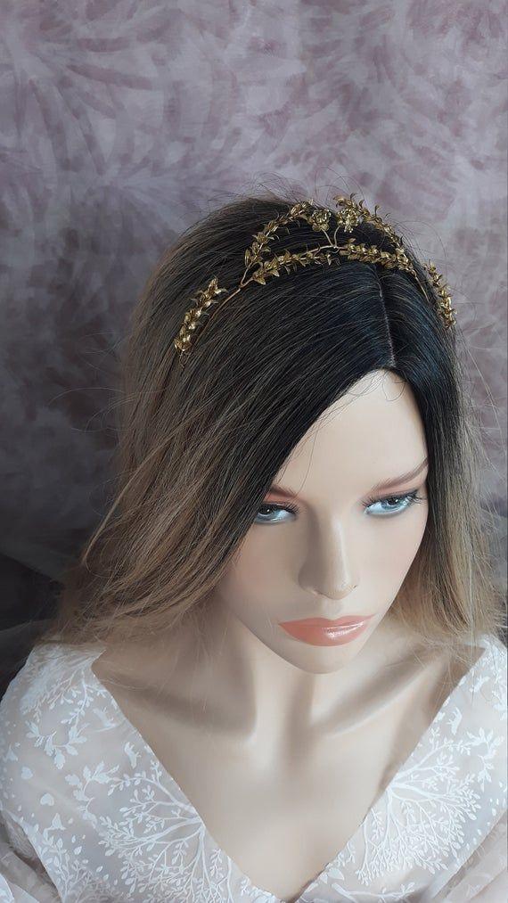 Golden Myrtle Tiara Vintage German Wedding Myrtle Crown