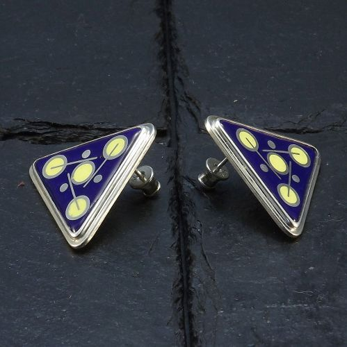 Cloisonne Enamel  Earrings  Triangle Earrings  by StudioIlonaArt