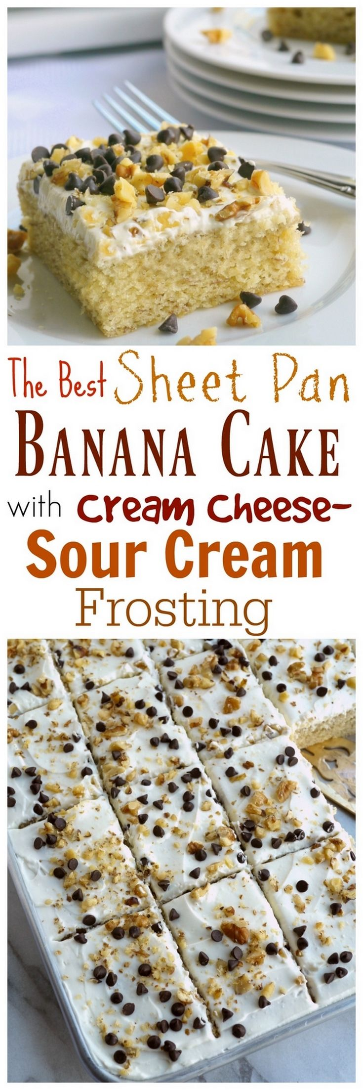 The Best Sheet Pan Banana Cake with Cream Cheese-Sour Cream Frosting is the perfect dessert to enjoy for your next gathering. 9 x 13 instructions also available.   from NoblePig.com.