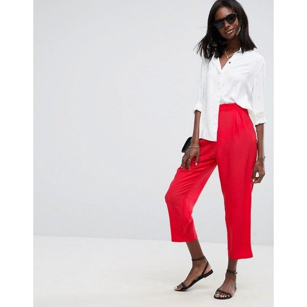 ASOS Tapered Peg Trousers ($41) ❤ liked on Polyvore featuring pants, red, high waisted trousers, peg pants, high waist pants, zip pants and red high waisted pants