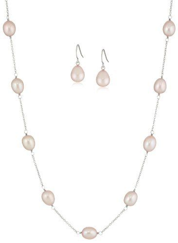 Honora Pink Freshwater Cultured Pearl Necklace and Earrings Jewelry Set Honora. $130.00. Items containing natural stones may have slight variances in size, shape and color. Necklace: L-19 in x W-7.5-8mm, Earrings: L-8-8.5mm x W-8-8.5mm. Made in China. Due to the organic nature of freshwater cultured pearls, there will be minor variances in color, size and shape from the image above.