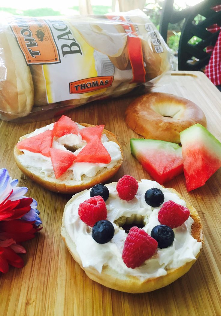Bagels with Fresh Fruit: Celebrate summer's abundance of berries with a seasonally delicious breakfast treat. Top lightly toasted Thomas' Bagels with cream cheese, raspberries, blueberries and watermelon.