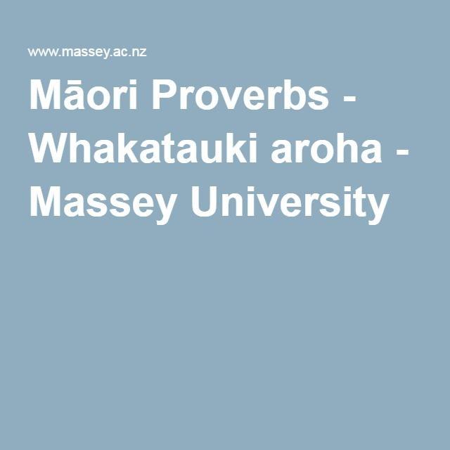 Māori Proverbs - Whakatauki aroha - Massey University