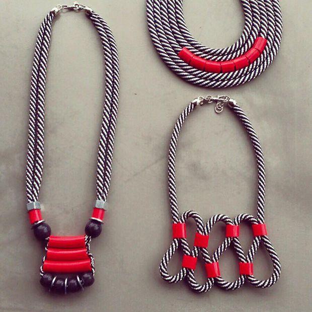 Colares feitos com corda pela Adedo;