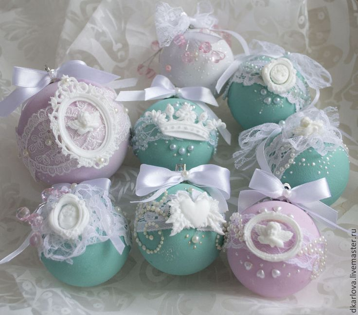 """Новогодние шары """" Морозная нежность"""" - мятный,ёлочные украшения,шар,Новый Год"""