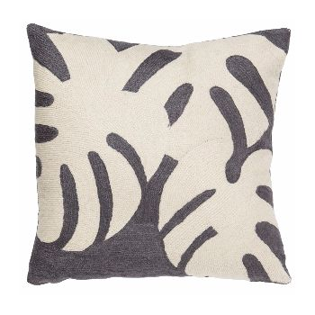 Cheese Plant Grey Cushion: This beautiful line of wool cushion covers merge the best in contemporary and abstract design and are produced using the finest, traditional techniques.   -Made in Kashmir -Chain-stitch -Hand stitched contemporary cushion -Pad included -Quality button closing to allow for easy access to pad