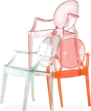 """lou lou ghost - child's chair  Design Philippe Starck, 2008  Injection-molded polycarbonate  Made in Italy by Kartell  15.75"""" w   14.5"""" d   24.75"""" h   seat: 12.5"""" h    $133.00 each + $4.00 shipping in the continental U.S.  (usually ships in 7-10 days)"""