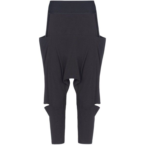 Y-3 Jersey Sarouel Pant (€81) ❤ liked on Polyvore featuring black, jersey slip and striped jersey