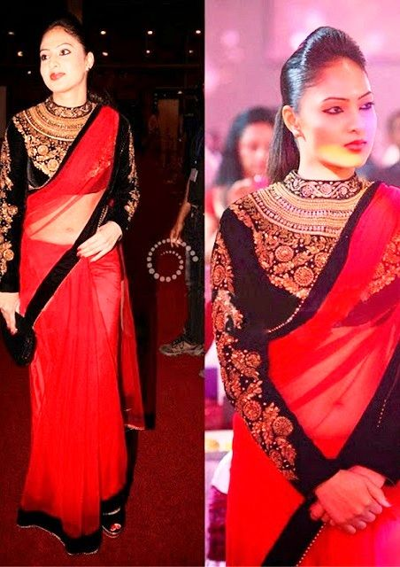Bollywood Actress Nikesha Patel Net Saree in Red and Black color
