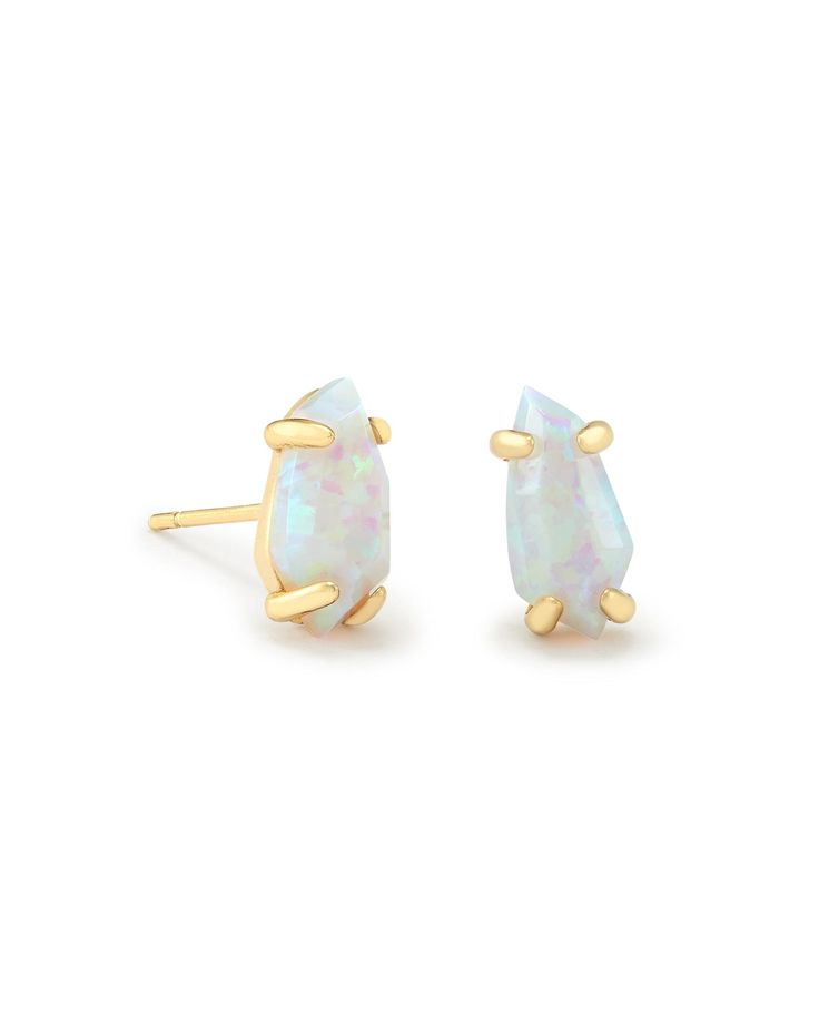 Looking for stud earrings? Our Jillian Earrings by Kendra Scott feature a dainty pop of bright white opal color in a delicate, gold metallic silhouette.
