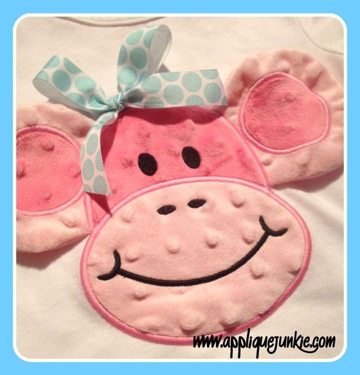 3D Monkey Face Applique Design  www.appliquejunkie.com